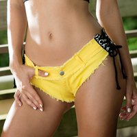 Wholesale Skinny Bikini - 2017 Sexy NightClub Low Waist Pinkycolor Skinny Jeans Denim Jeans Shorts Beach Pants DS Lady Hot Girl Short Pants Blue Mini Bikini Disco 807