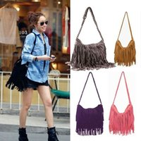 Wholesale ladies fringed handbags - Wholesale-New 2015 2016 New Fashion Fringed Tassel Female Shoulder Bag Women's Messenger Handbags Lady Cross Tote Bags Bestselling