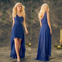 Wholesale Hi Lo Blue Chiffon - 2017 Royal Blue Prom Dresses Long Beaded Crystal Sequined One Shoulder Hi Lo A Line Chiffon Ruffle Party Dresses Evening Gowns EV147