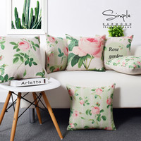 """Wholesale Chic Cushion Covers - Fashion Shabby Chic Rose Cushion Cover Linen Flower Floral Throw Pillow Case Modern Garden Car Sofa Home Decor Country Style 18"""""""