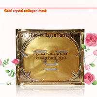 Wholesale Gold Bio Collagen Facial Mask Face Mask Crystal Gold Powder Collagen Facial Masks Moisturizing Anti aging beauty products DHL Free