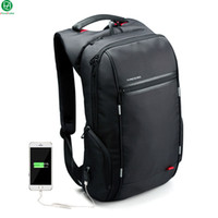 Wholesale 17 Laptop Backpack - Wholesale- Brand External USB Charge Computer Bag Anti-theft Notebook Backpack 15 17 inch black Waterproof Laptop Backpack for Men Women