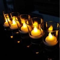 decoraciones de la fiesta del té al por mayor-Artículos de fiesta Tealight Tea Candles Impermeable Navidad flotante sin llama LED luz bombilla para boda fiesta de cumpleaños decoración