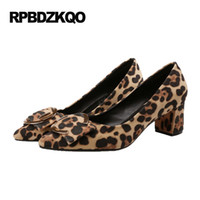 Wholesale Leopard Chunky Heels - Sexy Plus Size Pointed Toe Medium Footwear Leopard Print Metal High Heels 33 Suede 2017 Party Shoes Women Chunky Pumps China