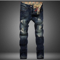 Wholesale Fly America - Wholesale-2016 Brand Fashion Designer Mens Ripped Jeans Worn Hole Straight Fit Denim Pants Casual Denim Trousers European America Style