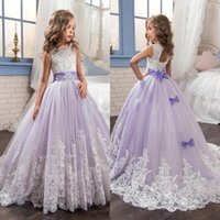 Wholesale Beaded Dresses For Weddings - 2017 Beautiful Purple and White Flower Girls Dresses Beaded Lace Appliqued Bows Pageant Gowns for Kids Wedding Party BA4472
