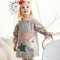 Wholesale Cute Style Babys Girls - Cute Babys Striped Tassel Long Flare Sleeve Girls Lolita Dress Children Autumn Christmas Clothes Lovely Girls Dresses