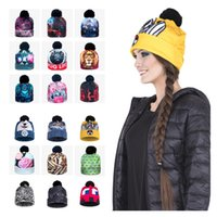 Wholesale Galaxy Beanies - 2017 NEW High Quality Winter Galaxy Beanie Hat Women Men Bobble Pompon 3D Graphic Full Printeed Hats Warm Knitting Casual Baggy Cozy Caps