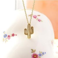 Wholesale Party Deserts - 10pcs 2017 Summer Necklace Minimalist Desert Prickly Pear Cactus Pendant Necklace for women Party Gift XL211