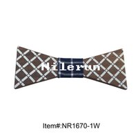 Wholesale Pattern Bow Ties For Men - Fashion novelty luxury England style blue white plaid pattern black walnut wood bow tie suitable for wedding, business and all kinds of part