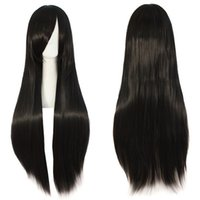 Wholesale anime long wigs online - 32 quot cm Long Straight Anime Supia Yisol Cosplay Wigs Black Lolita Wig Synthetic hair peluca peruca Perruque
