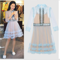 Wholesale woman fashion doll dresses - High-end custom self portrait new women's fashion runway seven points summer 2017 sleeve doll collar summer dress
