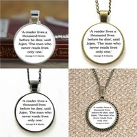 Wholesale George Necklaces - 10pcs George R R A Reader Lives A Thousand Lives Game of thrones Quote Glass Necklace keyring bookmark cufflink earring bracelet