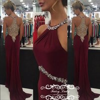 Reference Images Trumpet/Mermaid Halter Burgundy Chiffon Dazzling Crystal Beading Mermaid Prom Dresses 2018 Sexy Sheer Back Halter Sleeveless Long Evening Dress Celebrity Gown