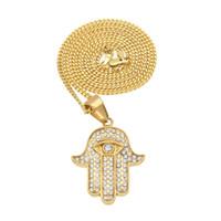 ingrosso catena del rhinestone di 3mm-Ciondolo mano Hamsa in oro color oro con pendente a forma di ciondolo con strass di gioielli Fatima di 3 mm con catena cubana da 24 pollici