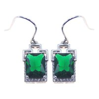 Wholesale Sterling Silver 925 Ear Cuff - 2017 hot fashion jewelry 925 Silver earring Green Zircon jewelry pierced Engagement Earrings earring Rhng DR0300904E Free Shippingodium