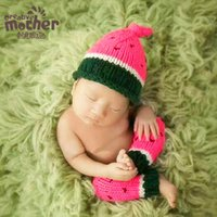 ingrosso foto dell'anguria-Puntelli Photography Neonati Handmade Knitting Anguria Modeling Baby Photo Clothes Accessori European Baby Crochet Foto Outfits