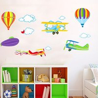 Wholesale Wall Stickers Air Balloon - Wall Sticker Colorful Hot Air Balloon Plane Decal Home Decorative For Kid Room Nursery Stickers Hot Sale 3 8sj F R