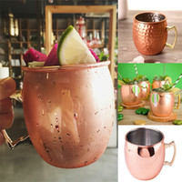Wholesale Cut Glass Plates - Hot Cocktail glass Moscow Mule Copper Plated Mug Cup Stainless Steel Hammered Copper Mug Drum Cocktail Drink Cups IB326