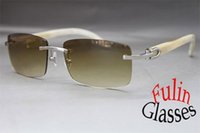 Precio de Wholesale Genuine Fashion Sunglasses-Al por mayor-caliente 8200757 o 8200758 blanco búfalo genuino cuerno gafas de sol exquisitas gafas sin montura Tamaño: 56-18-140