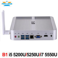 Wholesale Window Computer China - Fanless Barebone i5 Mini PC Win10 3 Years Warranty Mini Computer Intel Core i5 5200U 4K HTPC TV Box Free Shipping