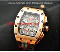 esqueleto de relógio de pulso venda por atacado-Novo Luxo Relógio De Pulso De Borracha Preta 39mm 18 k Rose Gold Mens Relógio Automático Esqueleto de Discagem dos homens Relógios de Pulso Esportes Transparente de Volta