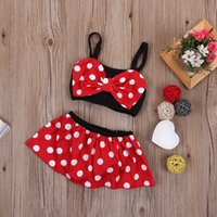 Wholesale New Korean Baby Girls - PrettyBaby New Korean Baby Girls Bikini Kids Girl Swimwear Baby Swimsuit Minnie Mouse Princess Bikini Swim Cute swimsuit 2pcs Set 0-5T