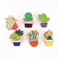 Wholesale Orchid Tree - Wholesale- Bovvsky small Cute Cactus Pots Orchid Metal Brooch Pins Button Pins Bag Decoration Lapel Pin tree plants brooch