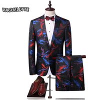 Wholesale Vintage Flying Fish - Wholesale- (Blazer+Pants) 3D Printed Men Suit Slim Koi Fish Pattern Chinese Style Stage Wear Skinny Vintage Mens Suits With Pants M-4XL