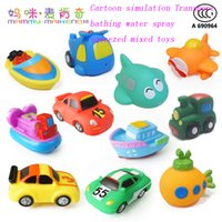 wholesale 1pcs baby bath toys kids water spray toys colorful car boat soft rubber children toys for newborn boys girls safe material from dropshipping