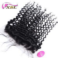 Wholesale Black Deep Wave Lace Closure - XBL Deep Wave Human Hair Extensions Brazilian Deep Wave Lace Frontal Within 13*4.5 Lace Size
