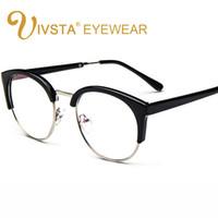 7b53bff1201 IVSTA Retro Round Transparent Glasses Frame For Women Cat Eye Eyeglasses  Frame Nerd Clear Eyeglass Spectacle Optical Eyewear
