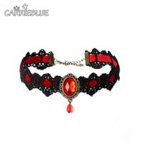 Wholesale Gothic Vampire Lace Necklace - Elegant Women Vampire Choker Vintage Europe Gothic Hollow black Lace Red Crystal Tassel Jewelry Collar Punk Choker Necklace YR82