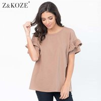 Wholesale Ruffle Sleeve Tops - Z&KOZE New Summer Ruffles t-shirt Female O Neck T Shirts Butterfly Shorts Sleeve Tshirt For Women Casual Loose Blusas Tees Tops q170691