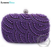 Hot 2016 purple pearls evening bags blue black grey grey clutch bag boda nupcial embrague fiesta cena cadenas bolso bolso