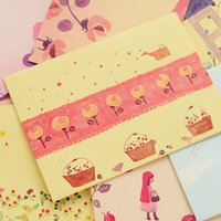Wholesale Wholesale Kawaii Tape - Wholesale-3Set lot Floral Kawaii wallet envelope with letter pad paper stationery writing paper note paper letter form gift note