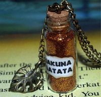 Wholesale Leaf Necklace Bronze - 12pcs Hakuna Matata Magical King Necklace With a Leaf Charm bottle necklace in bronze