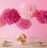 Wholesale Craft Pompoms - Wholesale- decorative flower wedding events party supplies crafts 25cm christmas birthday festival new year decoration paper pompon pompom