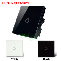Wholesale-UK / EU Style 1 Gang 1 Way Touch Switch de luz de vidro Smart Home Touch Screen Sensitive Tactile Wall Smart Switch