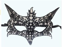 Wholesale Wholesale Christmas Ladies Dresses - 1PC Women Sexy Mask Black Cutout Lace Mask Venetian Carnival Halloween Masquerade Sexy Lady Mask Anonymous Dress Party Hot