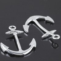 Wholesale Bracelet Anchor Bead Connector - Wholesale alloy anchor pirate bracelet connector beads charm found DIY jewelry silver plated