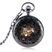 Wholesale Hollow Skeleton - Wholesale-Classic Black Steampunk Gear Hollow Skeleton Mechanical Hand Wind Carving Pocket Watch Men Women Chain Gift 2016