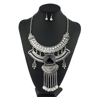 Wholesale Long Set Chain - Vintage Tassel Jewelry Sets Multi Layer Crystal Hollow 0ut Flower Ethnic Silver Plated Long Coin Behomian Pendant Necklace Women New Fashion