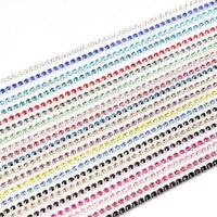 Wholesale Element Shoes - Wholesale 2mm-3mm 10 Yards Lot Silver Base Claw Rhinestone Chain Multicolor Sew On Garment Jewelry Bag Shoes Accessories Crystal Chains