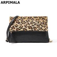 Wholesale Leopard Hair Clutch - ARPIMALA Charming Leopard Evening Bags Horse Hair Women Clutch Bag High Quality Leather Party Bag Designer Shoulder Bag