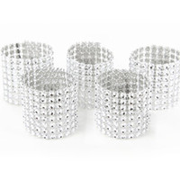 Wholesale Napkin Decorations - Plastic Rhinestone Wrap Napkin Ring Silver Color Napkin Buckle Hotel Wedding Supplies European Style Home Decoration