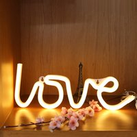 Wholesale Led Love Sign - White LOVE Shaped LED Neon Sign Wall Neon Light, LED Indoor Decor Night Lamps, Neon Light Sign Decor for Wedding Birthday Party Bedroom