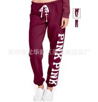 Wholesale Ladies Velvet Flats - Plus Size pink letter Autumn Winter Women Casual Sweapants Candy Colors Velvet Warm Ladies Trousers Mid Waist Super Elastic Pants