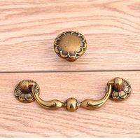 """Wholesale Door Pull Handle Brass - 76mm vintage bronze drawer cabinet knob pull antique brass dresser door handle 3"""" retro drop rings furnituer door handles knobs"""