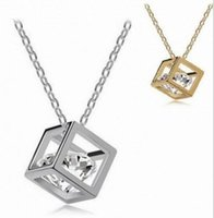 Wholesale Necklace Small Crystal Pendant - Fashion love cube Three-dimensional necklace wild crystal Small box short clavicle chain pendant necklace wholsale free shipping